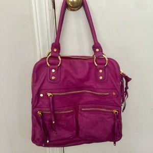 Pink Magenta Sabina NY Leather Hobo Purse Bag